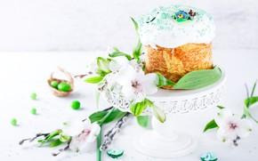 Картинка цветы, праздник, весна, Пасха, кулич