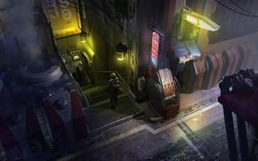 Картинка Ночь, Город, Будущее, Неон, Человек, Фантастика, Concept Art, Переулок, Science Fiction, Cyberpunk, Environments, Eddie Del ...