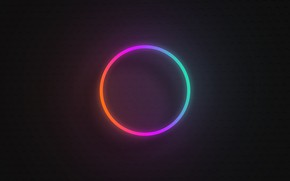 Картинка круг, градиент, неон, вывеска, неоновый градиент, неоновый круг, радужный неоновый круг