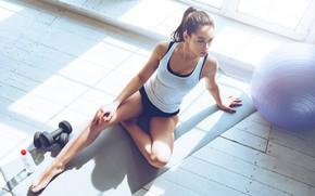 Картинка взгляд, поза, мяч, шар, фигура, фитнес, pose, гантели, dumbbells, Workout