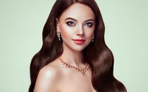 Обои взгляд, девушка, лицо, стиль, волосы, портрет, красота, макияж, брюнетка, украшение, Brunette, длинные волосы, сережки, woman, ...