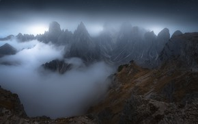 Картинка горы, ночь, туман, холмы, вершины, Китай, Азия