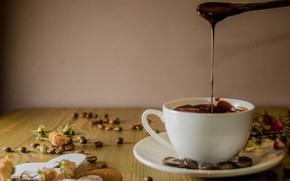 Картинка чашка, напиток, кофейные зёрна, декор, горячий шоколад