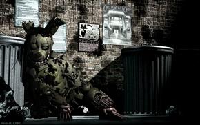 Картинка игра, кукла, Five Nights At Freddy's, мусорные баки, Пять ночей у Фредди