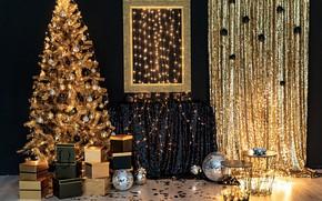 Картинка золото, праздник, елка, интерьер, подарки, Новый год, украшение