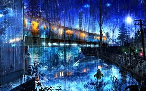 Картинка деревья, город, фантастика, дождь, поезд, робот