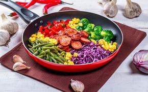 Картинка овощи, колбаса, сковорода