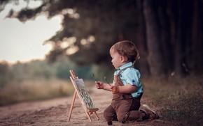Картинка природа, мальчик, малыш, дорожка, художник, ребёнок, мольберт, Анна Ипатьева