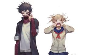 Картинка аниме, арт, Белый фон, герои, Boku no Hero Academia, Моя геройская академия