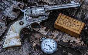 Обои Gun, Bullets, Colt, Weapon, Pistol, Clock