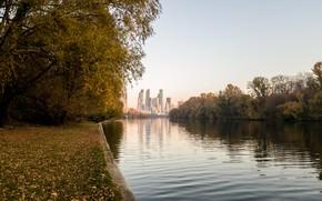 Картинка осень, парк, москва-река, москва-сити