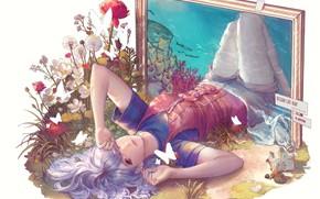 Картинка девушка, бабочки, цветы, океан, акула, картина, рамка, арт