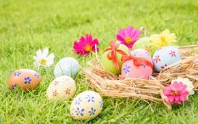 Картинка трава, цветы, яйца, Пасха, happy, flowers, eggs, easter, decoration
