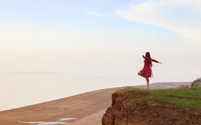Картинка море, девушка, поза, побережье, платье, Алексей Лозгачёв