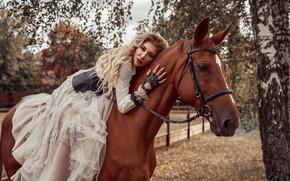 Картинка девушка, поза, конь, лошадь, платье, наездница, Максим Клипа