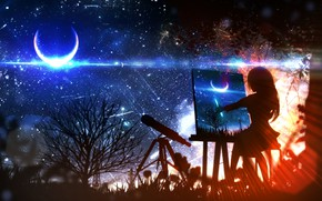 Картинка девушка, ночь, луна, фэнтези, рисует