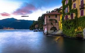 Картинка озеро, дома, Италия, Комо, Нессо