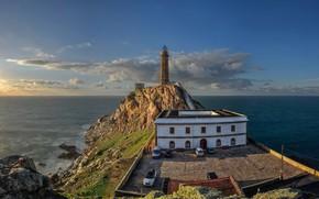 Картинка небо, побережье, маяк
