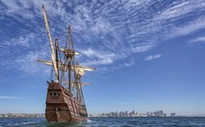 Картинка море, город, корабль, парусник, горизонт, мачты