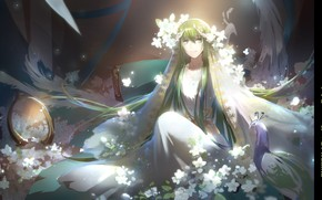 Картинка улыбка, зеркало, павлин, парень, зеленые волосы, фата, белые цветы, белая одежда, Enkidu, Fate/Srange Fake, by …