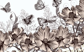 Картинка бабочки, цветы, ретро, фон, винтаж
