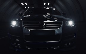 Картинка Volkswagen, Front, Lights, Touareg, Game, Diesel, Tunnel, Xbox One X, Forza Horizon 4, FH4, HDR …