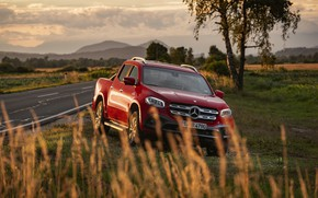 Картинка дорога, красный, растительность, Mercedes-Benz, обочина, пикап, 2018, X-Class