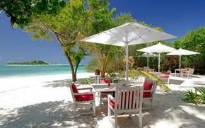Картинка пляж, пальмы, океан, ресторан, Мальдивы, Maldives, Kanuhura, drift restaurant