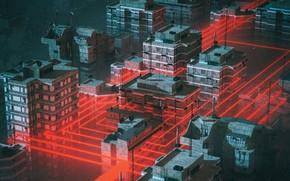 Картинка Город, Неон, Стиль, Здания, City, Fantasy, Архитектура, Арт, Графика, Art, Style, Фантастика, Neon, Fiction, Рендеринг, …