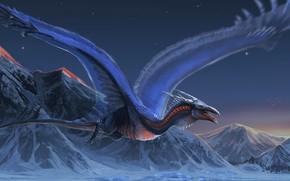 Картинка горы, дракон, крылья, полёт