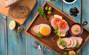 Картинка лимон, яйцо, хлеб, помидор, оливки, соус, ветчина