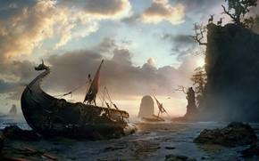 Картинка корабль, Живопись, Spikeroog, Vladimir Manyukhin, скалистые утёсы