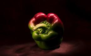 Картинка темный фон, один, ткань, перец, натюрморт, овощ, болгарский, паприка, красно-зеленый