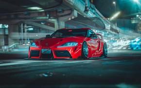 Картинка Красный, Авто, Ночь, Машина, Supra, Toyota Supra, Concept Art, Science Fiction, Khyzyl Saleem, by Khyzyl …