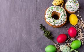 Картинка веточка, праздник, яйца, пасха, солома, кулич