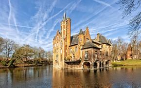 Картинка пруд, замок, Бельгия, Castle Wissekerke
