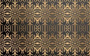 Картинка золото, узор, текстура, черный фон, gold, орнамент, background, color
