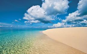 Картинка песок, море, пляж, вода, облака