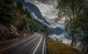 Картинка дорога, деревья, горы, озеро, Норвегия