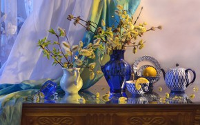 Картинка фото, чайник, ваза, натюрморт, верба