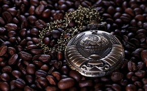 Картинка обои, звезда, часы, кофе, СССР, герб СССР, часы карманные