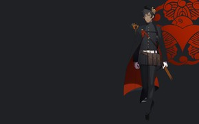 Картинка аниме, парень, чёрный фон