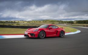 Картинка Porsche, Скорость, Асфальт, Cayman, Трасса, GT4, 2019, Porsche 718 (982) Cayman GT4