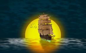 Картинка море, солнце, закат, птицы, корабль, парусник