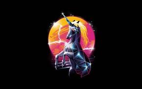 Картинка Минимализм, Стиль, Фон, Единорог, Арт, Art, Style, Neon, Background, Illustration, Minimalism, Unicorn, Synth, Retrowave, Хобот, …