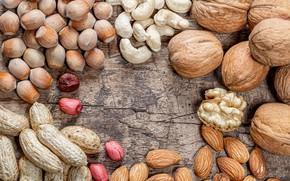 Картинка орехи, миндаль, арахис, грецкие, кешью