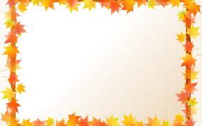 Картинка листья, рамка, открытка, шаблон, заготовка