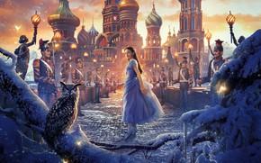 Обои девушка, снег, мост, сова, птица, фэнтези, солдаты, постер, дворец, филин, Walt Disney, Mackenzie Foy, Маккензи ...