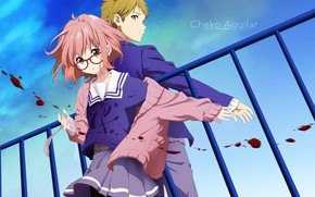 Картинка девушка, кровь, аниме, арт, парень, Kyoukai no Kanata, За Гранью, Мирай