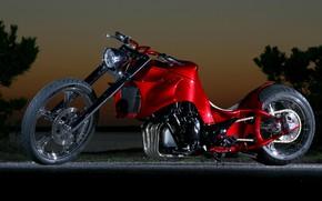 Картинка Red, Chopper, Custom, Motorcycle